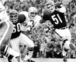 Butkus redefines the middle linebacker position as seen in this photo