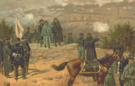 General Grant (center left with field glasses) at Chattanooga