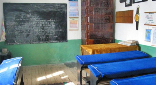 This is how an old classroom looks like. There are a lot of classrooms like this one in rural areas of Romania.