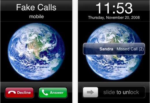 Fake Calls screen shot. Available via iTunes.