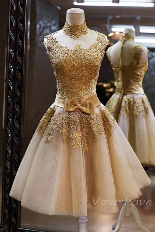 Short Prom Dress With Appliques