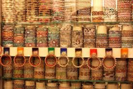 Bangles for sale in a bangle shop