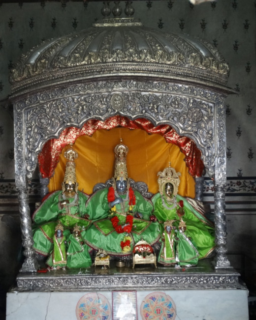 The idols of Lord Rama with Sita & Lakshman at Ratneswar Rama temple