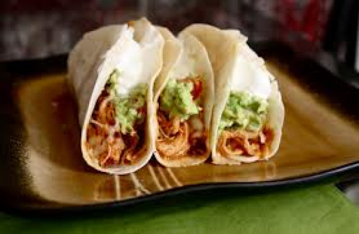 Here we have delicious homemade Crock Pot Chicken Tacos in the above photo. They are so very delicious.