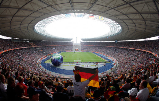 Fans attend the Opening Ceremony of the 2011 Women's World Cup ahead of Germany's match against Canada. The 2-1 victory for Germany set an attendance record for a women's football match in Europe.