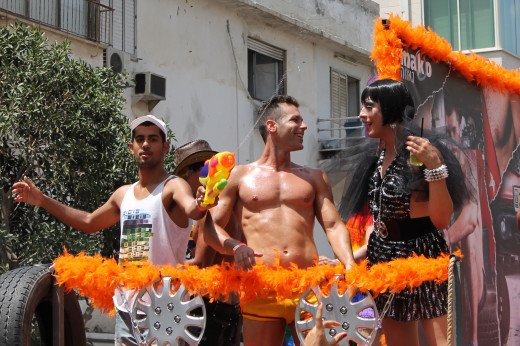 """Party bus"" at the 2013 Tel Aviv Gay Pride Parade."