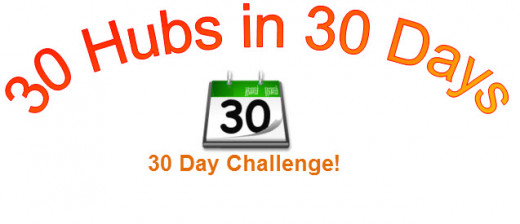 30 Hubs in 30 Days (created in MS Word - Word Art), calendar image from http://commons.wikimedia.org