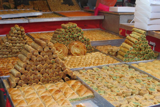 Middle Eastern pastries at the Carmel Market in Tel Aviv.