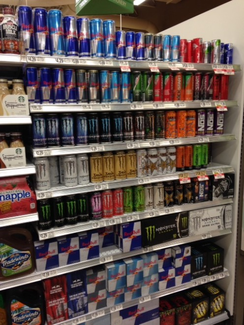Energy drinks are completely legal in the US.  There is no minimum age requirement .  If you can fork over two or three bucks, you can get your hands on some quick liquid energy.