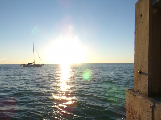 Sailboat before sunset at Key Biscayne, view from picnic area.