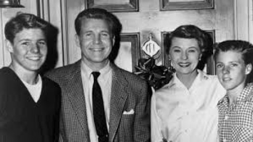 (From left), younger Dave, Ozzie, Harriet and Rick Nelson