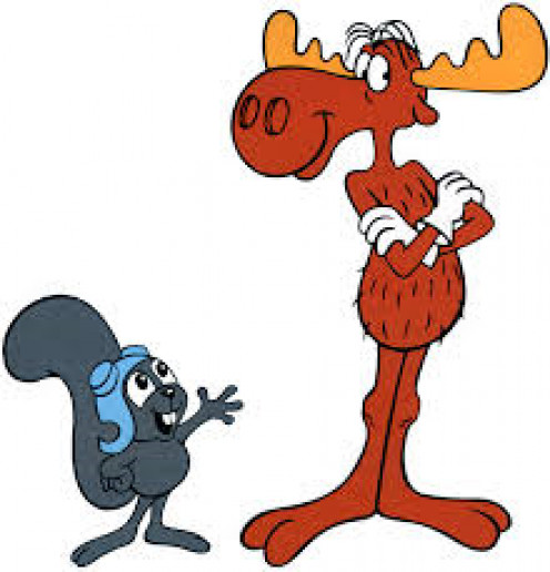 Rocky and Bullwinkle, iconic-duo. Although Bullwinkle was offbeat and didn't think things through, Rocky needed him in their adventures