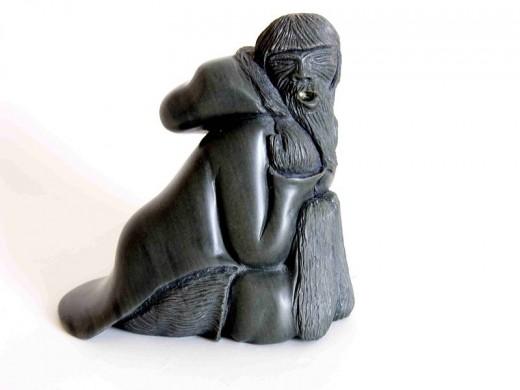 Inuit Elder stone carving.