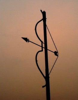 A street lamp post : The Bow & arrow is symbolic of Lord Rama (who was an archer incomparable)