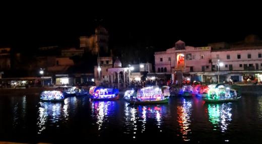 Lighted boats in Mandakini at Ram Ghat