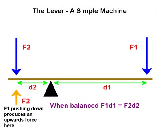 When the lever is balanced, the force F1 produces an equivalent force of magnitude F2  (shown in orange). This balances F2 i(shown in blue) acting downwards