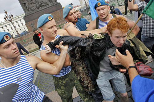 Gays and atheists - enemies of Putin.
