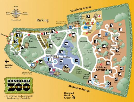 Grounds map of the Honolulu Zoo