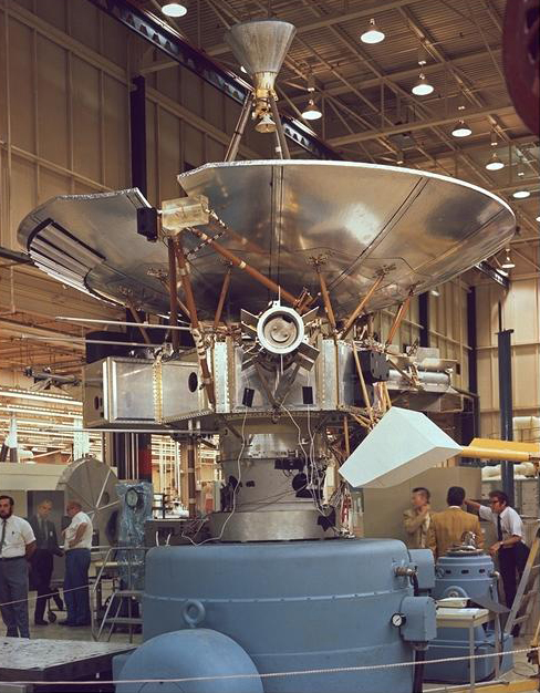 Pioneer 10 during the latter stages of its construction.  The American space probe was the first to complete a mission to the planet Jupiter. It later achieved fame as the first spacecraft to achieve escape velocity from the Solar System.