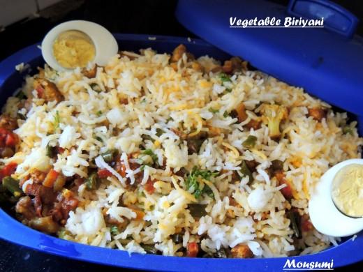 Vegetable Biryani Decor with Egg Slices
