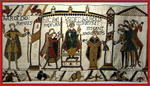 The Bayeux Tapestry version of Harold's crowning