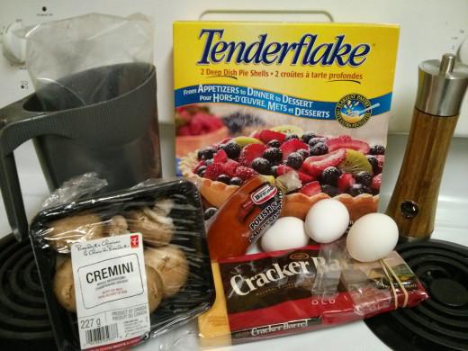 Milk, Ready-Made Pie Crust, Mushrooms, Eggs, Cheese, Kielbasa, Pepper