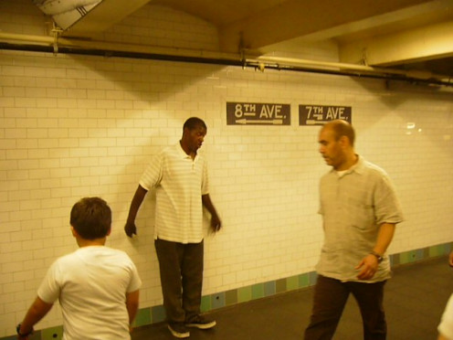 New York City Subway. Singer offers his show