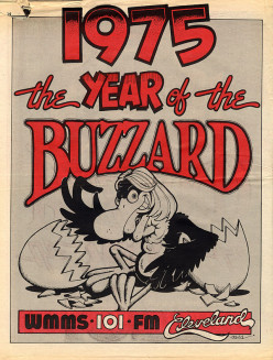 Poster by David Helton in WMMS Exit Magazine in Cleveland OH in January 1975. The poster was actually not connected to the Buzzard Festival.