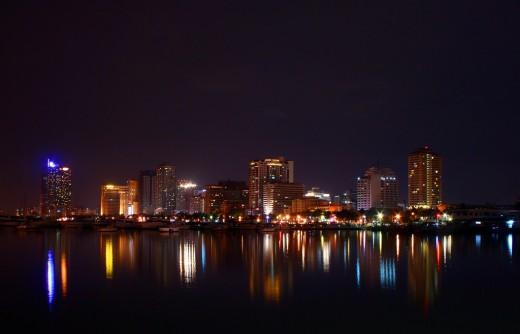 Manila at night from across Manila Bay.
