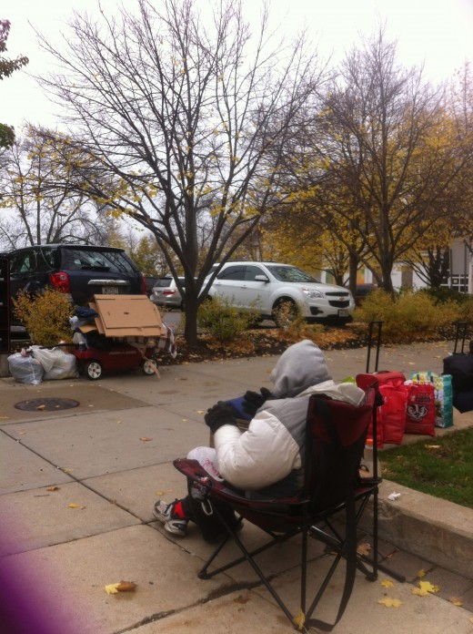 Personal photo of a homeless person at the Capitol on East Washington.