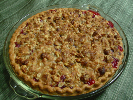 Cranberry-cherry pie with walnut crunch topping straight from the oven.