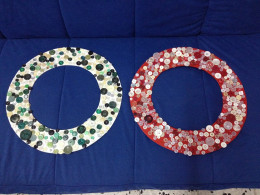 Two button wreaths in progress by Kikalina