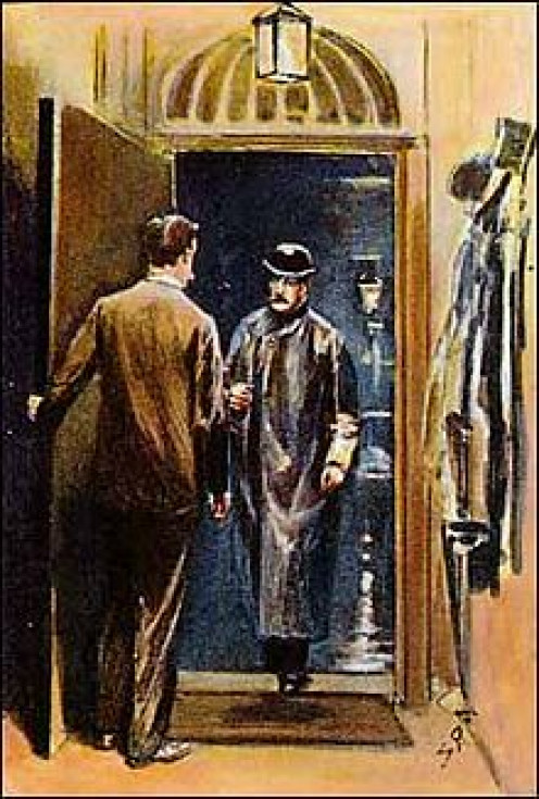 Sherlock Holmes and Doctor Watson form an old Sydney Padget illustration.