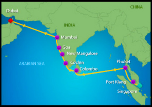 Map of Cruise to Asia and India in 2015