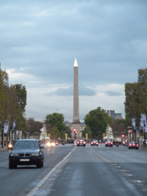 A 75-foot monumental pillar fashioned from pink granite, the Obelisk of Luxor looms over Place de la Concorde,