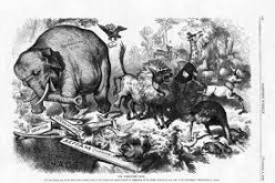 Thomas Nast, a political cartoonist, uses an elephant to represent the Republican party.