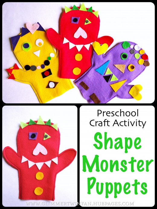 Fun Preschool Craft Activity:  Felt Shape Monster Puppets