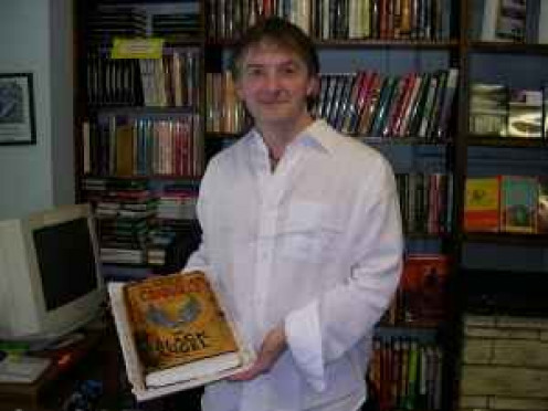 Pic of John Connolly during a book signing tour in 2005. Books by the author that year include The Black Angel.