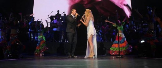 Lara Fabian and Mustafa Ceceli performing their new duet in Istanbul, Turkey - August 13, 2014.
