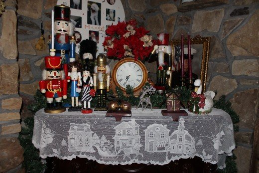 Our fireplace mantle decorations for Christmas.