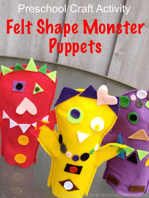 This felt shape monster puppet craft provides hours of fun for preschoolers and kindergarteners.
