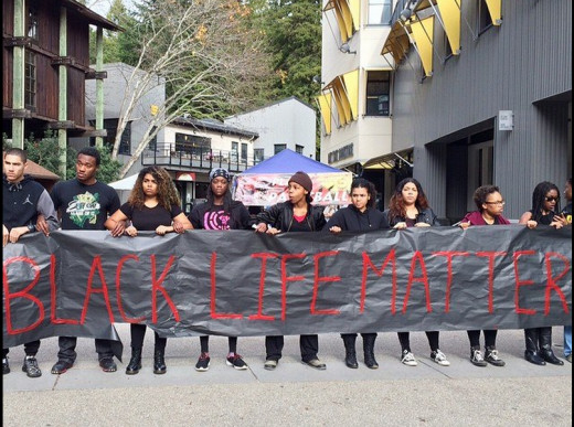 Students at University of California, Santa Cruz, my alma mater, gather to protest police brutality and the recent grand jury controversy in Ferguson and New York