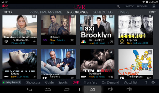 Screenshot of the DVR page, which displays what recordings are stored on your DVR receiver's internal hard drive.