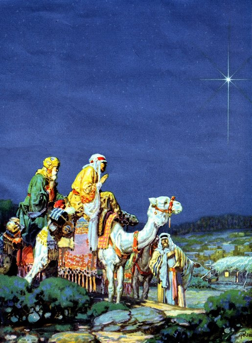The wise men following the star to find baby Jesus.