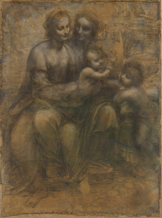 The Virgin and Child with Saint Anne and Saint John the Baptist (c.1499-1450)  black chalk on coloured paper This is a  drawing on paper which is a cartoon for a painting, 141.5 x 104.6 cm Location: National Gallery, London