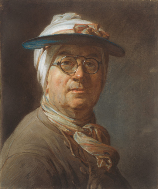 Self-Portrait with a Visor  (1776) by Jean-Baptiste-Simon Chardin. Pastel on blue laid paper, mounted on canvas Height: 457 mm (17.99 in). Width: 374 mm (14.72 in).