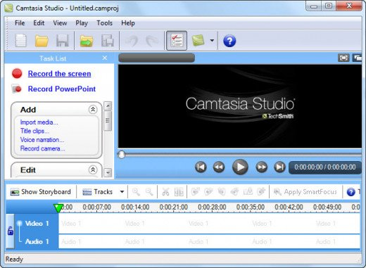 Camtasia Main Screen