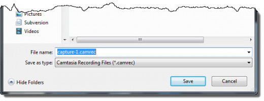 Save Camtasia camrec file