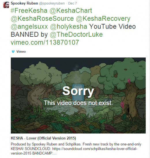 Spookey Ruben accused Dr. Luke of having official versions of the Kesha track Lover removed from YouTube
