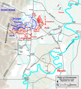 Defense of Horseshoe Ridge and Union retreat, afternoon and evening of September 20th, 1863